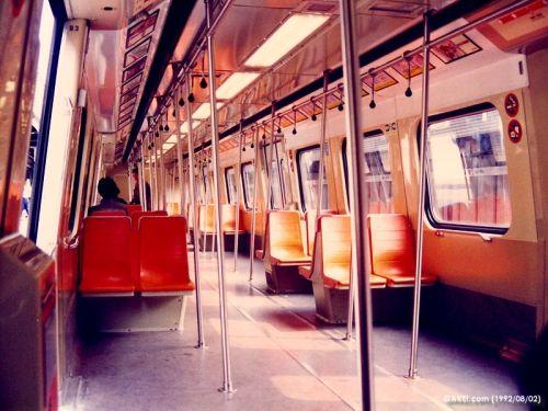 Unrefurbished interior of a KCR Metro Cammell EMU (photo by Joseph K.K. Lee)
