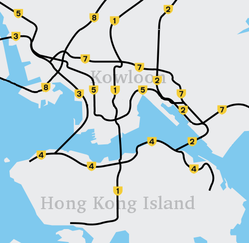 Hong Kong cross harbour tunnel and freeways