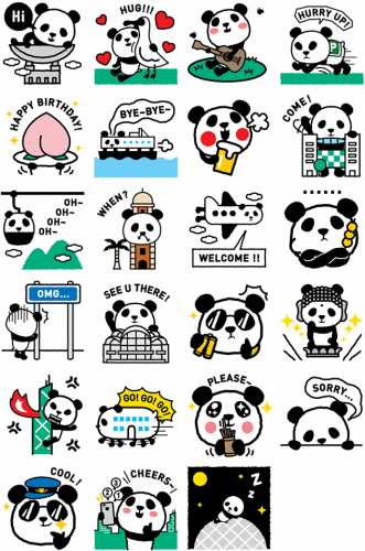 Facebook stickers for '1600 Pandas'