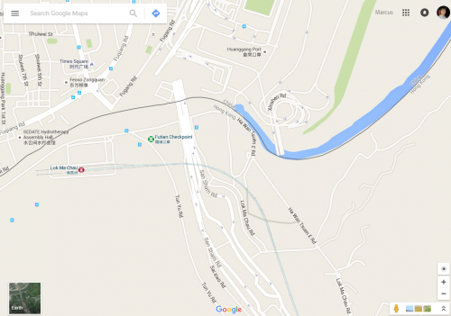 Google Maps - Huanggang Port on the Hong Kong - China border