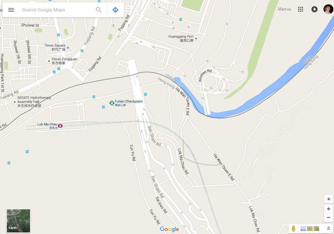 Distorted maps on the hong kong china border checkerboard hill google maps huanggang port on the hong kong china border gumiabroncs Images