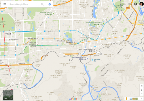 Google Maps - missing roads on the Hong Kong - China border