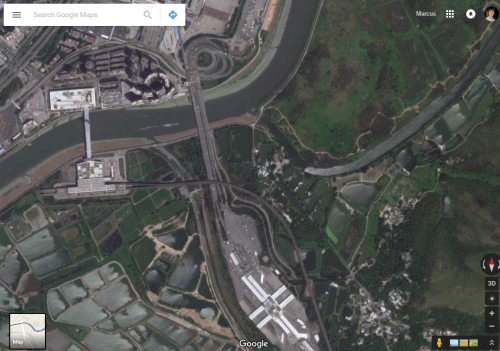 Satellite imagery - Huanggang Port on the Hong Kong - China border