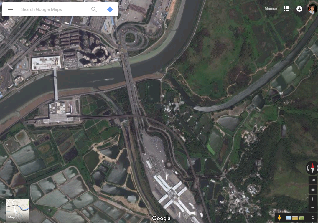 Distorted Maps On The Hong Kong China Border Checkerboard Hill - Google map satellite