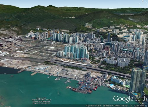 Sham Shui Po waterfront aerial view Google Earth
