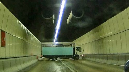 truck at 90 degrees to road (Tseung Kwan O Tunnel, photo via Apple Daily)